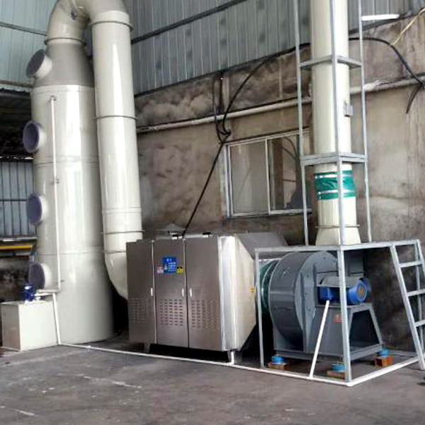 垃圾除臭西甲足球直播:喷淋塔+光氧催化