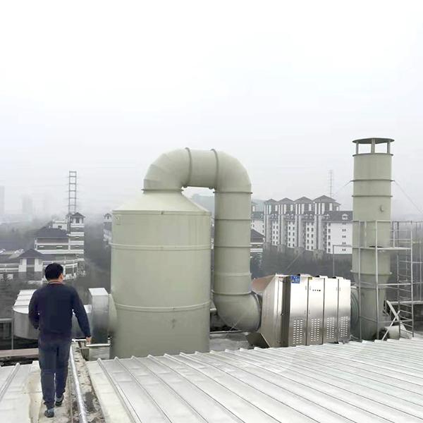 污水除臭废气:喷淋塔+光氧催化设备